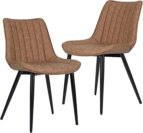 HOMHUM Faux Leather Dining Chairs Set of 2 Mid Century Modern Leisure Upholstered Chair