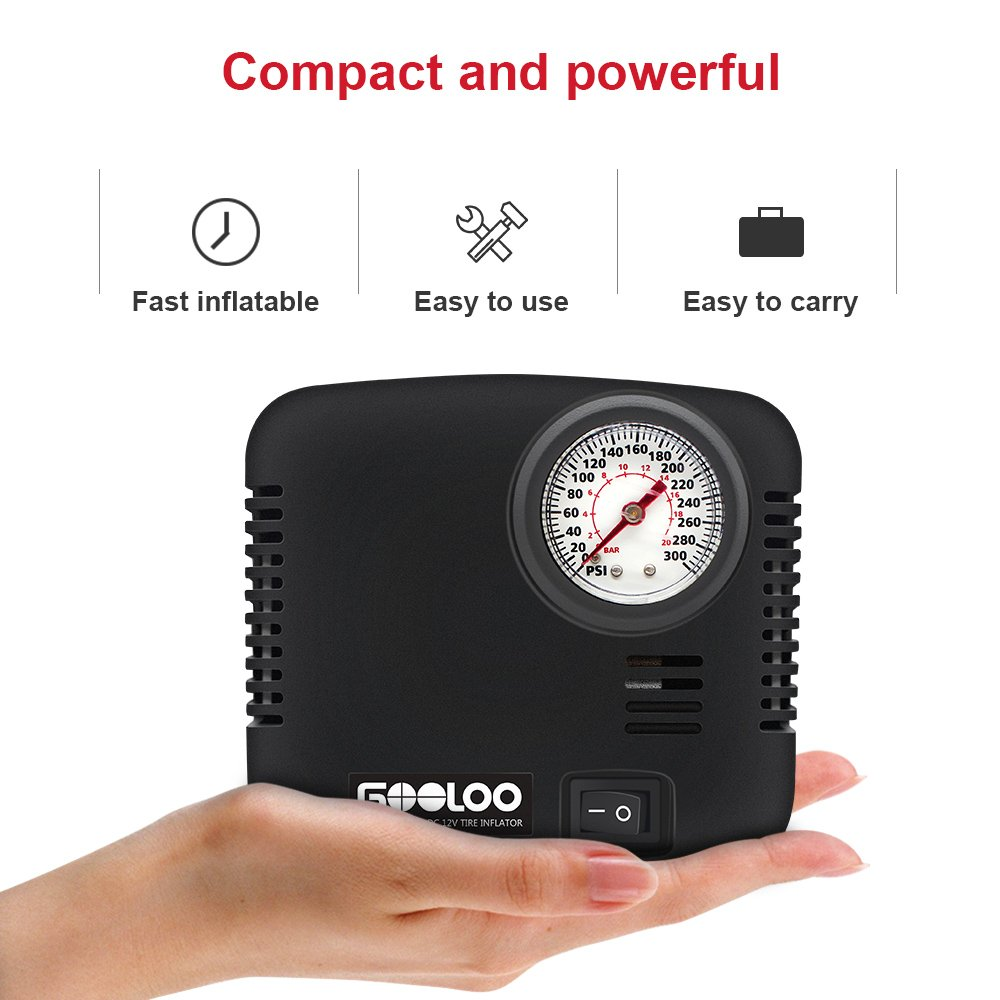DC 12V Air Pump Electric for Cars Bicycles Balls RV and Other Inflatables GOOLOO Portable Tire Inflator 300 PSI Air Compressor