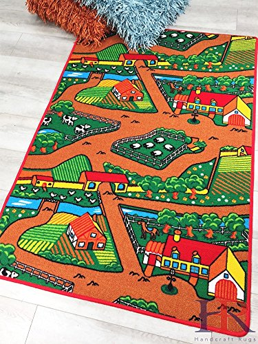 - Kids Rugs by Handcraft Rugs- My Farm Pattern of Road Driving Fun Brown/Green and Multi Anti Slip Rug Game Carpets for Kids/Kids Toy/Kids learning Floor Rugs (Approximately 5 feet by 7 feet)