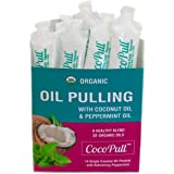 CocoPull - Organic Oil Pulling 14 Packets with Coconut Oil and Peppermint Oil for Healthy Teeth and Gums, Bad Breath Remedy.