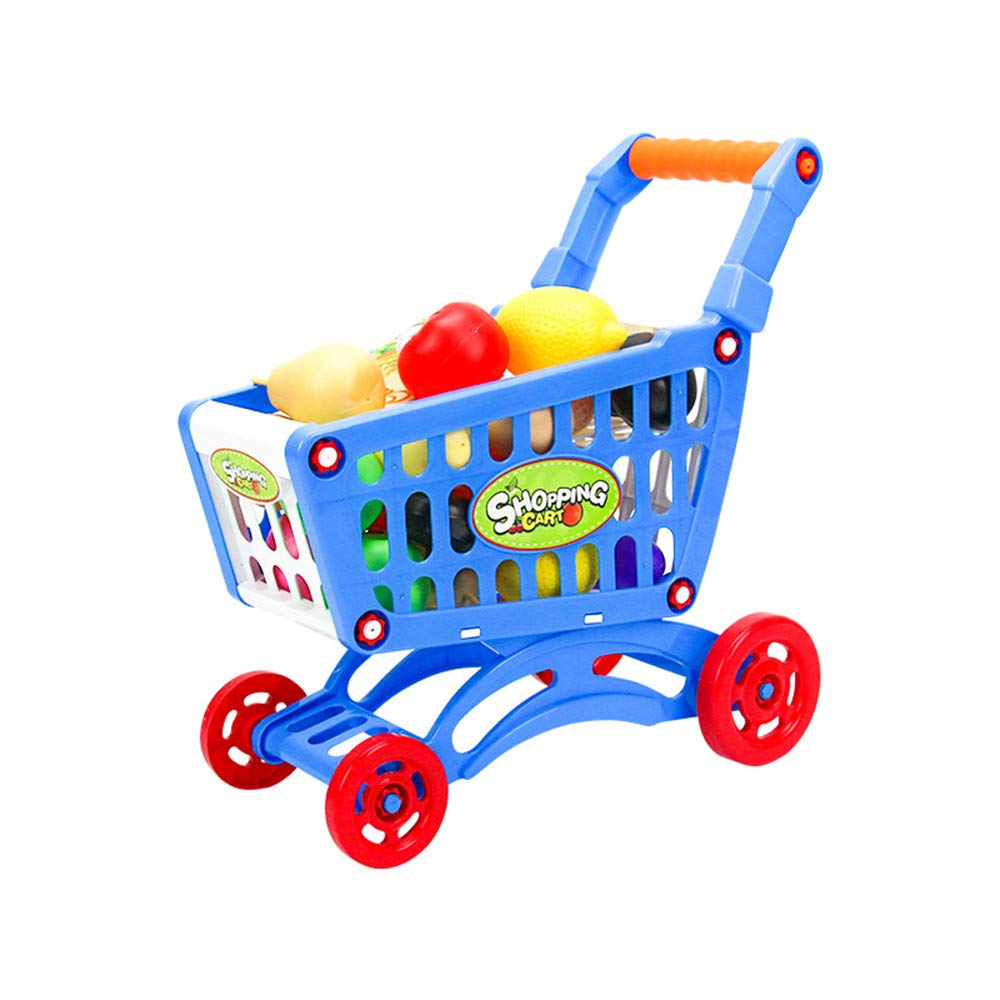 Anferstore Toy Shopping Cart with Toy Food , Supermarket Playset with Included Grocery Cart Toy for Kids , Toy Food Fruit Vegetable-12pcs/Toy Beverage bottle-4pcs (Blue)