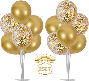 TONIFUL Balloons Stand Kit Table Decorations,2 Set with 14 Sticks, 14 Cups, 2 Base, 16 Gold Balloons for Wedding Graduation 30th 40th 50th 60th 70th 80th 90th 100th Birthday Table Decorations