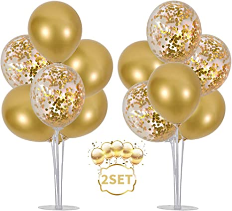 Gold Balloon Stand Kit with 14 Sticks, 14 Cups, 2 Base, and 16 Balloons