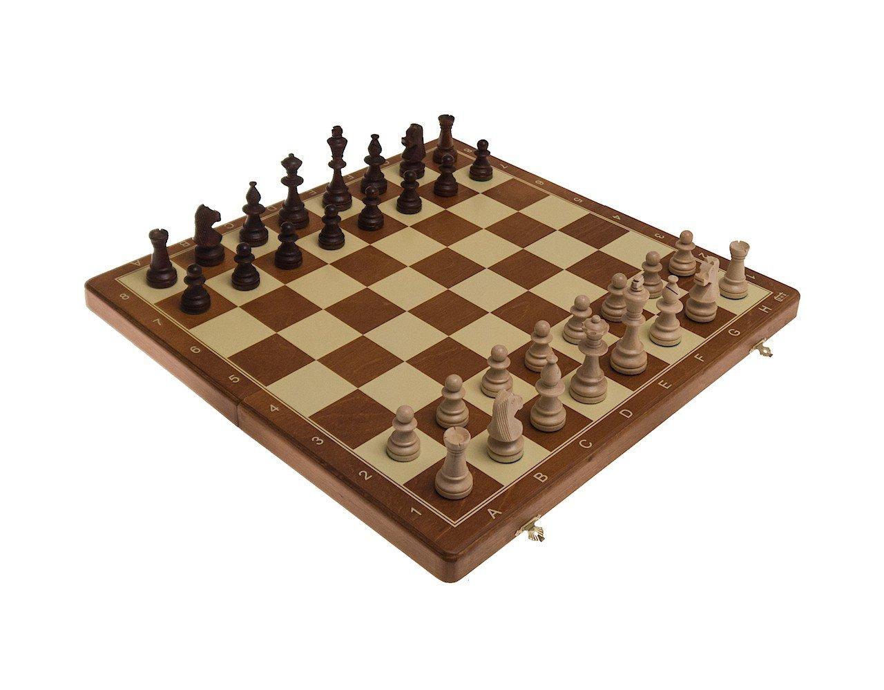 ROMBOL Schachkassette mit Randbeschriftung, FG 58 mm, KH 98 mm, Schachset mit Figuren, Holz, gewichtet