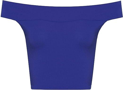 TALLA S-M. Top Bandeau para Mujer - Escote Bardot sin Mangas - Colores Lisos - Tallas UK 8-14/EU 36-42