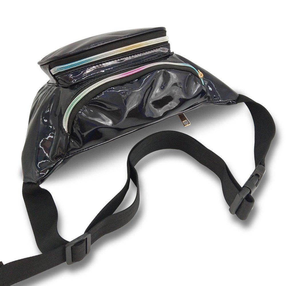 Women Laser Waterproof Leather Crossbody Bag Messenger Shoulder Bag Chest Bag Travel Waist Pack Fashion Belt Bags Waist Bag Black by Tianjinrouyi-Bags (Image #4)