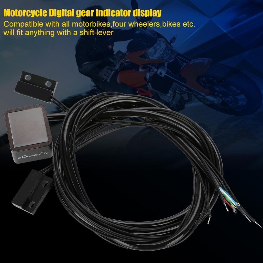 Motorrad Ganganzeige Fydun Digital Ganganzeige Wasserdicht Universal Digital Ganganzeige Rote Farbe LED Ganganzeige Motorrad Zubeh/ör f/ür Fahrrad Motorrad