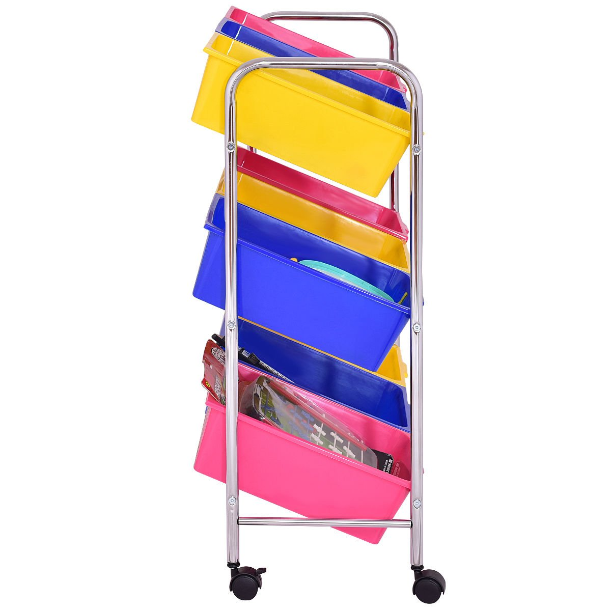 KCHEX>Toy Bin Cart Rack Organizer Kids Childrens Storage Box Playroom Bedroom Shelf>This is Our 9 Plastic Drawer Rolling cart, which is of and Brand New. Thanks to its Colorful Plastic by KCHEX (Image #4)