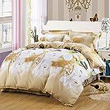 4pcs Bedding Set Duvet Cover Flat Sheet Pillow Case Twin Full Queen Flower Designs (Twin, Flower Dance)