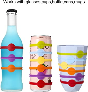 AUTOECHO Marcador De Silicona para Bebida Marcador De Etiqueta De Tira De Copa De Vino Marcadores De Bebida De Botella De Vidrio De C/óctel para Hogar Bar Suministros para C/ócteles