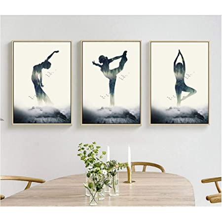 HYLBH Pintura Mural Minimalista Moderno Yoga Figura Silueta ...