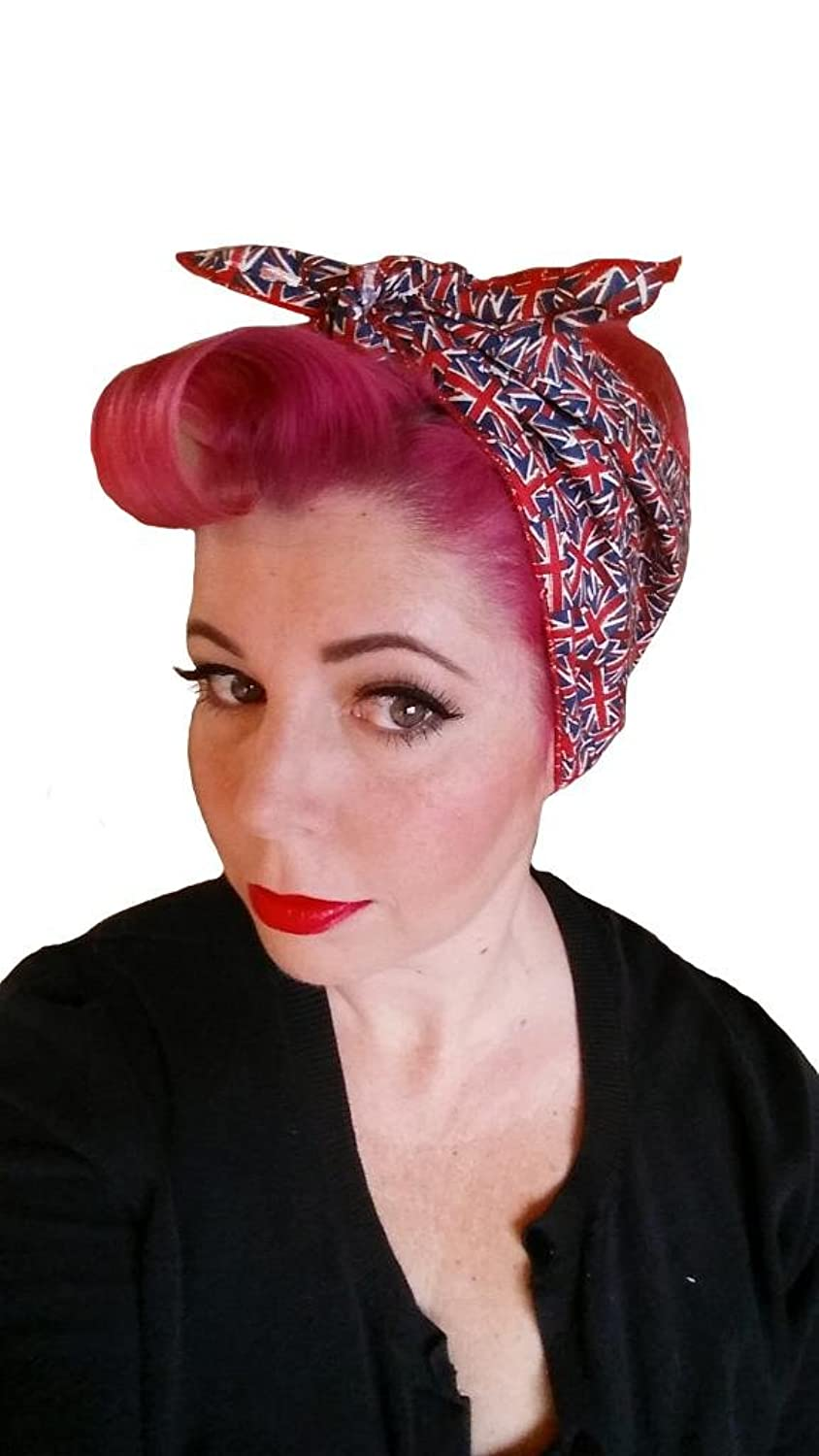 Vintage Scarves- New in the 1920s to 1960s Styles Spellbound Bows London Calling Double Wide Headwrap  AT vintagedancer.com