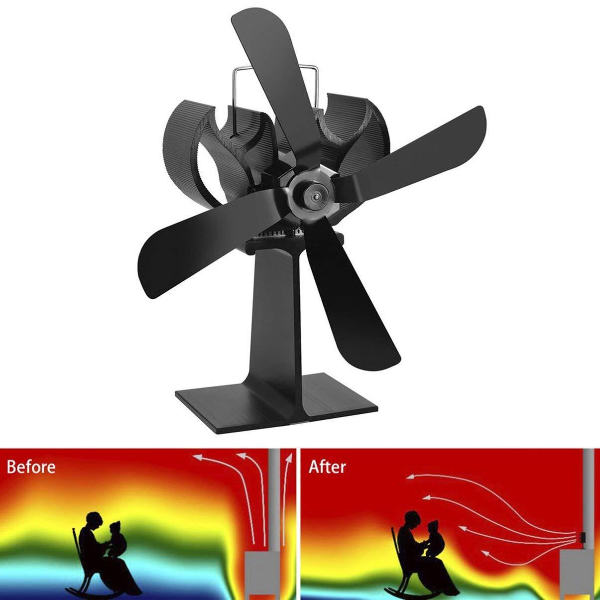 4 Cuchillas Calentador de Estufa Alimentado por Calor Quemador de leña Quemador de leña Ecofan Quiet Black Hogar Ventilador Eficiente Distribución de Calor: ...