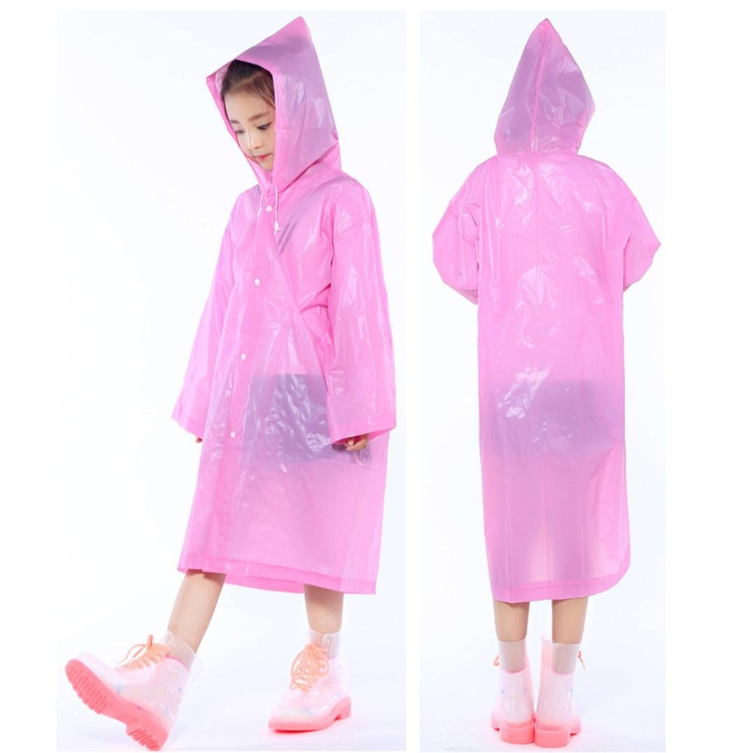 Children's Reusable Rain Poncho with Hood Sleeves and Button Rain Poncho Raincoats (Pink) Fdsd