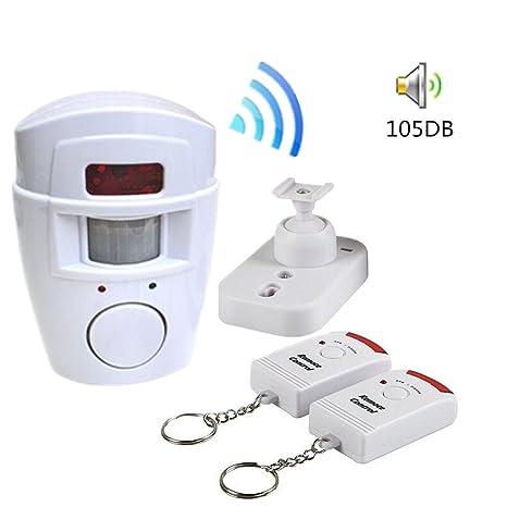bravolotus 105 db Sensor de movimiento detector de alarma inalámbrico por infrarrojos a distancia por infrarrojos