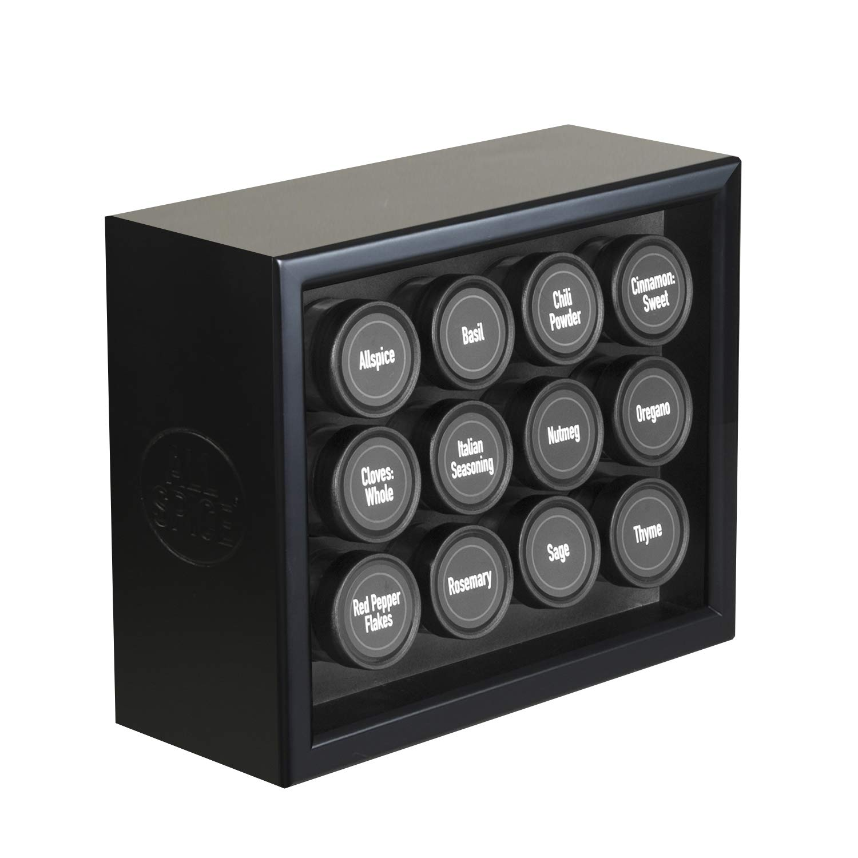 Matte Black 12 Jar AllSpice Wooden Spice Rack, Includes 30 4oz Jars- Oak