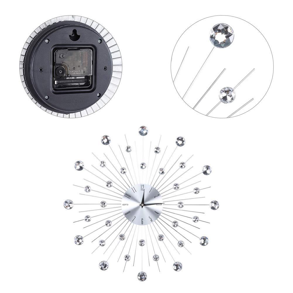 1 AUNMAS Orologio da Parete Creativo Scintillante Bling Argento Metallico Strass Orologio da Parete per Soggiorno Decorazione dellufficio