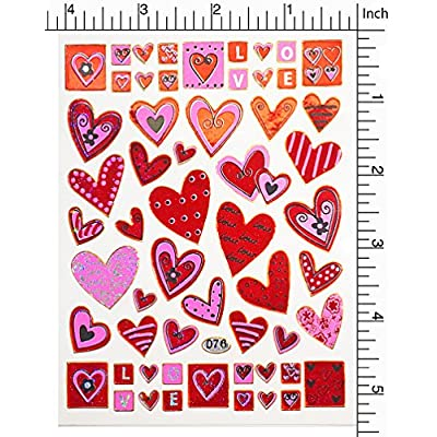 Jazzstick 10-Sheet Valentines Heart Stickers Glitter Scrapbook for Kids Value Pack Bulk 01: Toys & Games