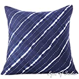 Eyes of India - 20'' Indigo Blue Kantha Cushion Shibori Couch Pillow Throw Cover Sofa Bohemian Colorful Decorative BohoCover Only