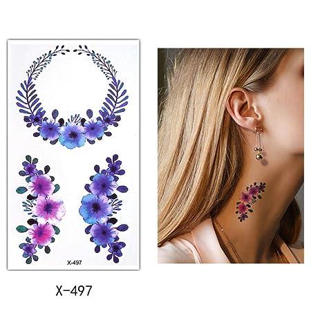 adgkitb 5 Piezas de Flores de Colores Tatuaje Temporal Brazo de ...