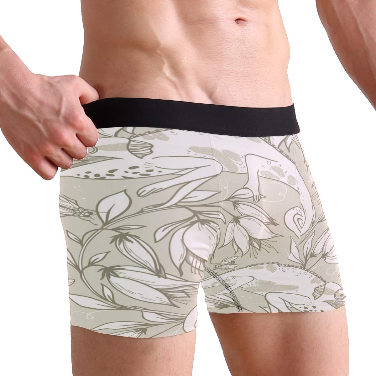 ZZKKO Chameleon Floral Mens Boxer Briefs Underwear Breathable Stretch Boxer Trunk with Pouch S-XL