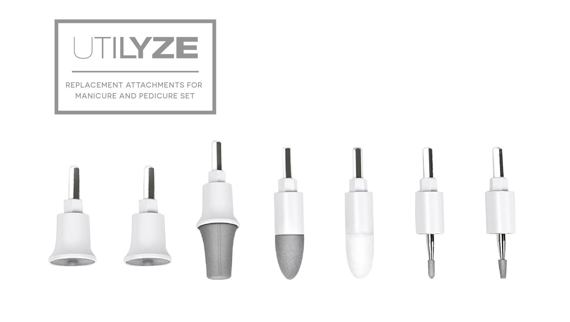 UTILYZE Replacement Attachments for Professional Electric Manicure and Pedicure Set