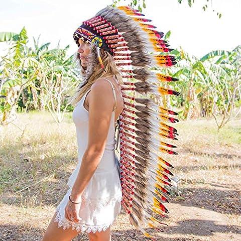 Novum Crafts Feather Headdress   Native American Indian Inspired   Multicolored - Native American Indian Feathers