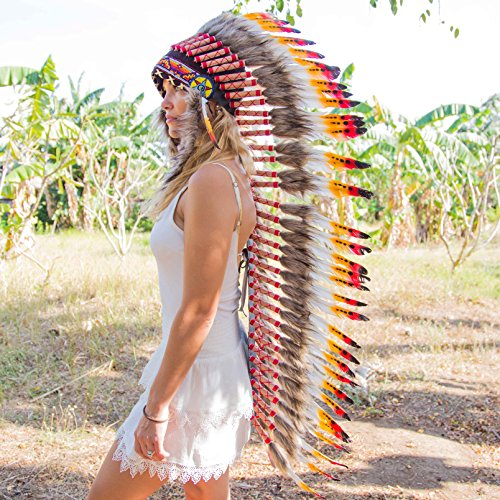Chief Indian Headdress Costume (Novum Crafts Feather Headdress | Native American Indian Inspired | Multicolored)