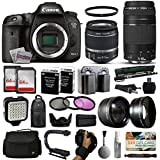 Canon EOS 7D Mark 2 DSLR Digital Camera + 18-55mm IS II + 75-300mm USM Lens + 128GB Memory + 2 Batteries + Charger + LED Video Light + Backpack + Case + Filters + Auxiliary Lenses + More