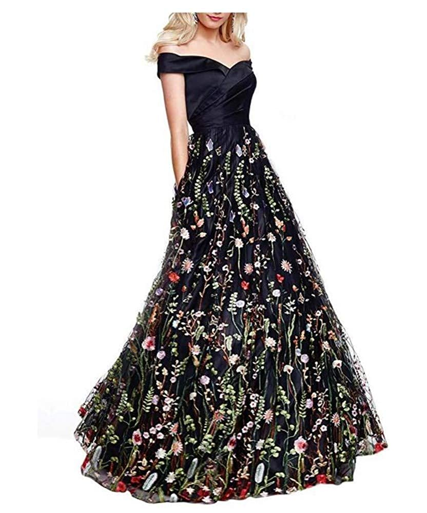 G Style  Black Honeydress Women's FloralEmbroidered Long Sleeve Maxi Dress Prom Gown