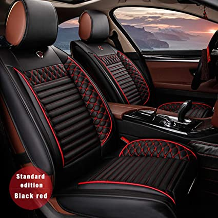 Luxury Black Red Airbag Compatible Car Seat Covers for Jeep Compass 2019 5-Seat Custom PU Leather Front Rear Seat Pad All Season Protetion Full Set Easy Install