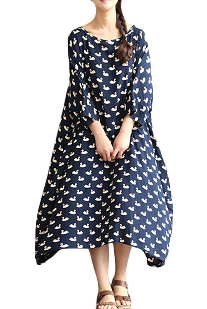 Mordenmiss Women's Swan Pattern Plus Size Dress Daily Clothing L Dark Blue