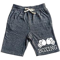 Men's Boxing Gloves V434 Graphic Snow Fleece Jogger Sweatpant Gym Shorts Small Black