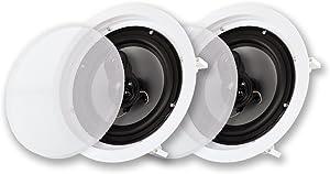 "Acoustic Audio CSic83 in Ceiling 8"" Speaker Pair 3 Way Home Theater Speakers"