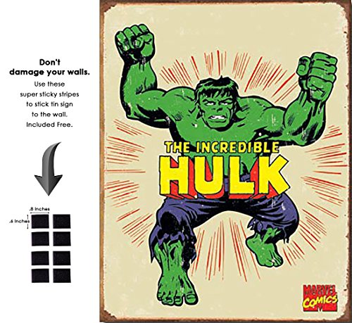 Hulk Hero Marvel Comics Retro Vintage Decor Tin Sign12.5 in Wx16 in H - with Sticky Stripes No Damage to -