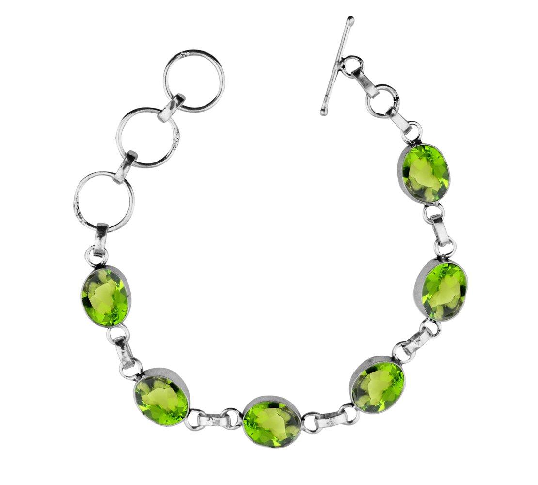 Peridot Quartz 925 Sterling Silver Overlay Handmade Fashion Bracelet Jewelry by Sterling Silver Jewelry (Image #1)