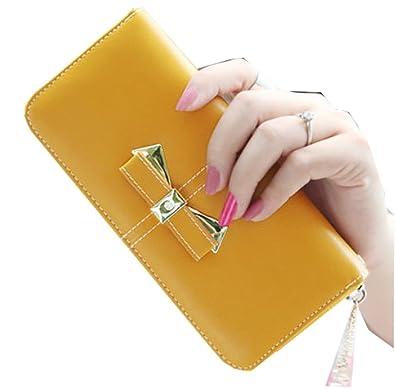 b61e0122edfd Amazon | レディース 長財布 ブランド wallet ラウンドファスナー 黒 黄 ...