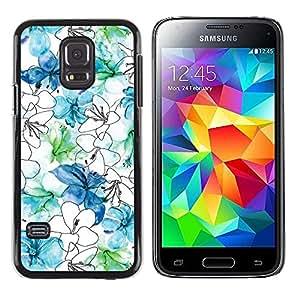 Be Good Phone Accessory // Dura Cáscara cubierta Protectora Caso Carcasa Funda de Protección para Samsung Galaxy S5 Mini, SM-G800, NOT S5 REGULAR! // Flowers White Blue Drawing Hand