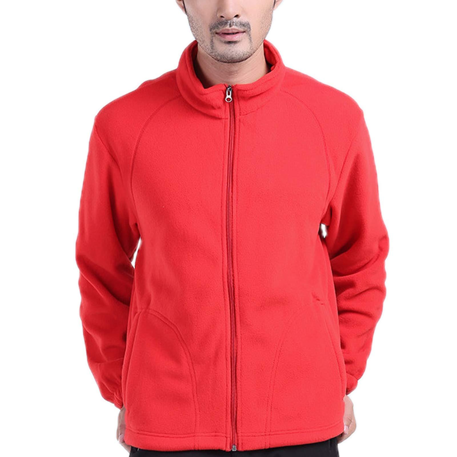 ZumZup Mens Fleece Jacket Full Zip Stand Collar Sportwear Top Outwear Red1 Bust 48.8''(Asie 2XL) by ZumZup