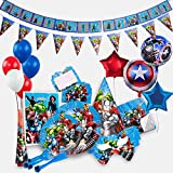 Marvel Avengers Birthday Party Supplies Decoration for 15 Superhero Guests with Ultimate 200 Plus Items Including Forks | Knives | Plates | Napkins | Hats | Masks | Balloons | Banner | Invitation Cards | Table Cloth AND MORE!