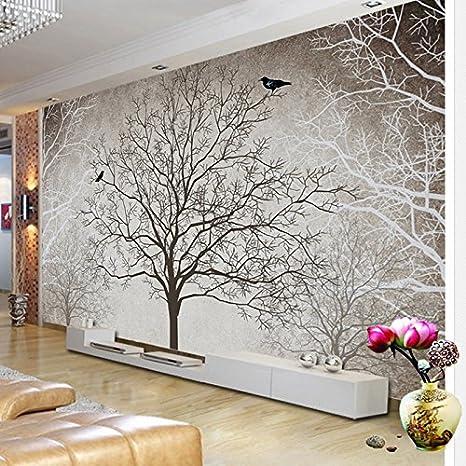 Leegt 3d Tapete Wallpaper Mural Retro Abstract Zweige Vogel