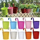 10 pcs Hanging Flower Pots, Thickened Metal Iron Wall Hanging Planter Indoor/ Outdoor for Railing Fence Balcony Garden Home Decoration, Multicolor