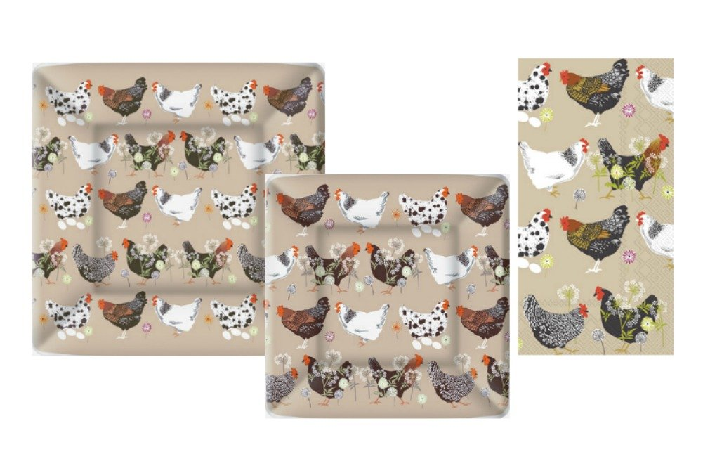 Chicken Theme Party Supply Pack! Bundle Includes Square Paper Plates and Guest Towels for 8 Guests in a Spatter Hens Design