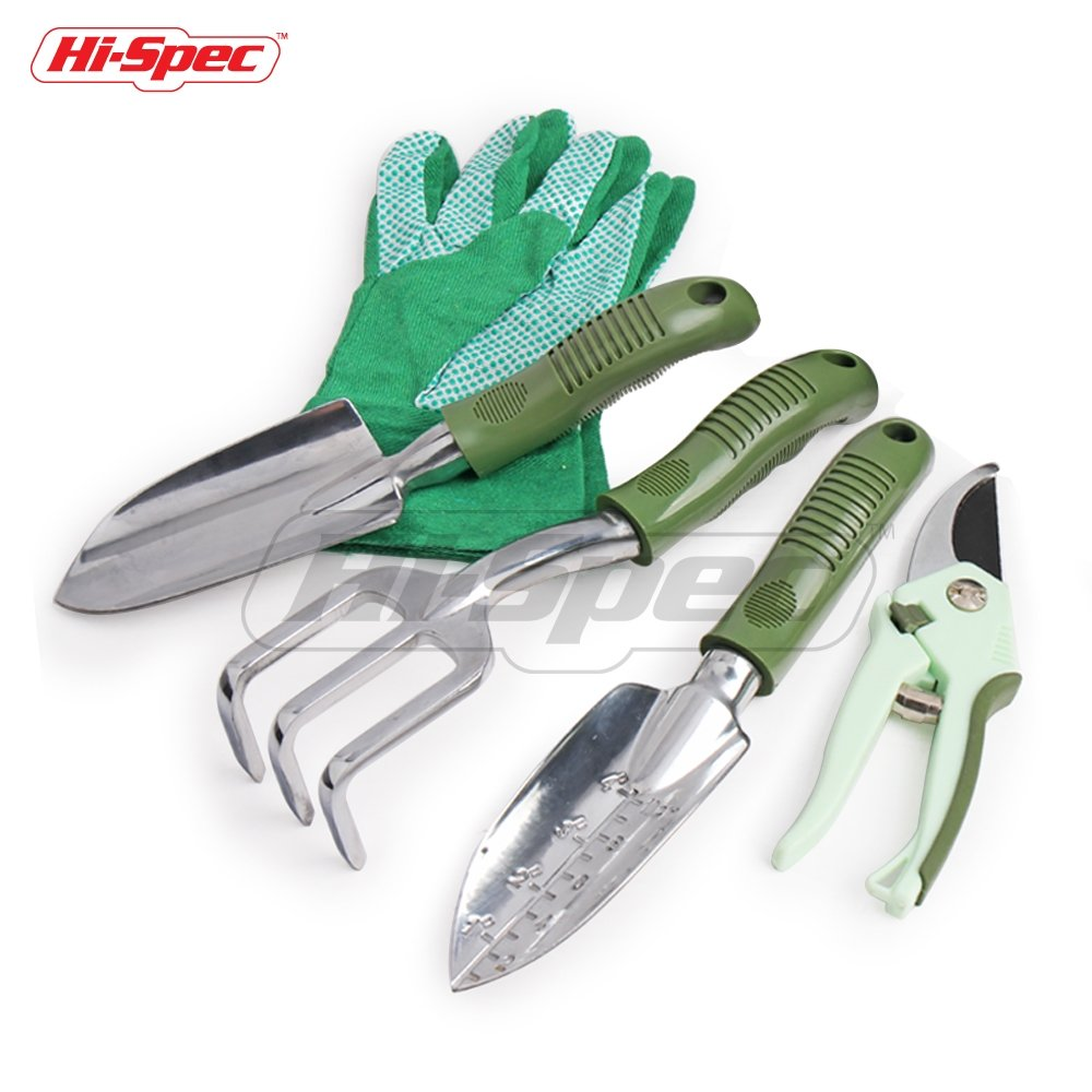 Hi-Spec 5 pc Garden Tool Set Of Yard & Garden Essentials with Pruning Shears, Cast-Aluminum Heavy Duty Hand Tools that NEVER Rust & Heavy Duty Work Gloves for Gardening, Pruning, Planting, and Potting
