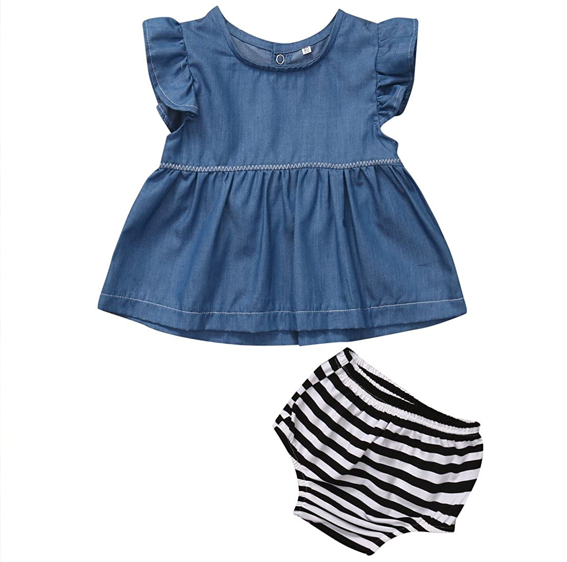 ITFABS 2pcs Baby Girl Cute Denim Jeans T-Shirt Tops + Striped Shorts Set Outfit