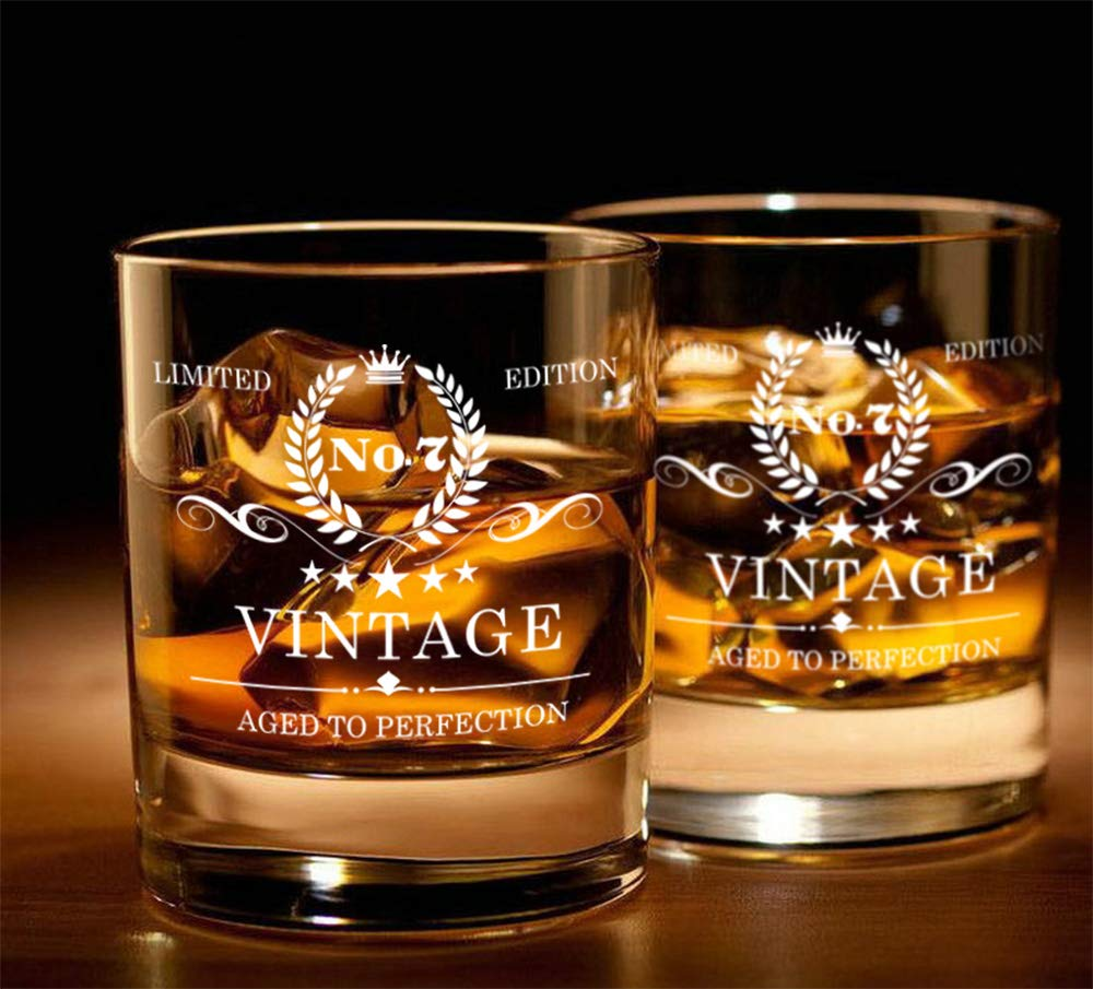RMOB Whiskey Glasses - Premium Tasting Tumblers for Whiskey, Scotch, Bourbon & Cocktail - Laser Engraved, Hand Blown Lead Free Crystal Tasting Cups - A Cheerful Anniversary Gift ...