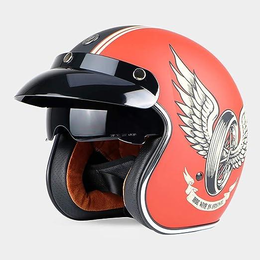 Sunzy Casco de Motocicleta Harley Retro Adulto Unisex 3/4 Casco de ...
