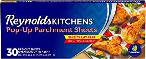 Reynolds Kitchens Pop-Up Parchment Paper Sheets, 10.7x13.6 Inch, 30 Sheets