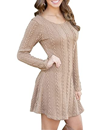 HAPEE Women's Crewneck Knitted Long Sleeve Sweater Dress at Amazon ...