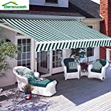 Diensweek 10'x8' Patio Awning Retractable Manual Commercial Grade, Fully Assembled,100% 280G Polyester Window Door Sunshade Shelter, Deck Canopy Balcony 1 Years Warranty (10'x8', Green/White Stripes)